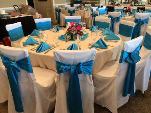 Chair Covers for Rent Call Banquet, Universal and Self tie Chair Covers