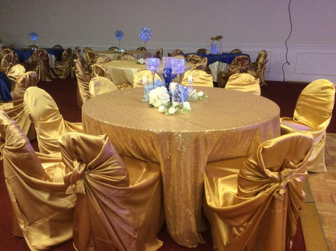 table linens sequin gold white and silver for rent only make me