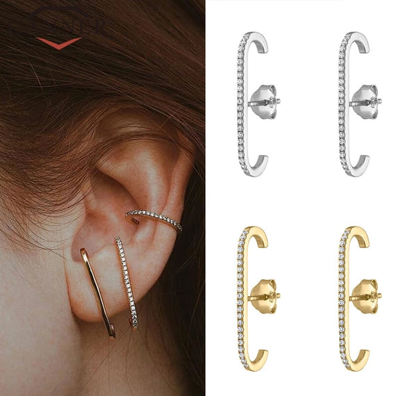 Sterling Silver Earrings Single Row Crystal Zircon stud Earrings Gold or Silver color Fashion Jewelry
