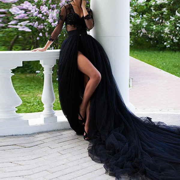 Dramatic Black Tulle Wedding Skirt Long Train High Slit Maxi Skirt  Prom Gown