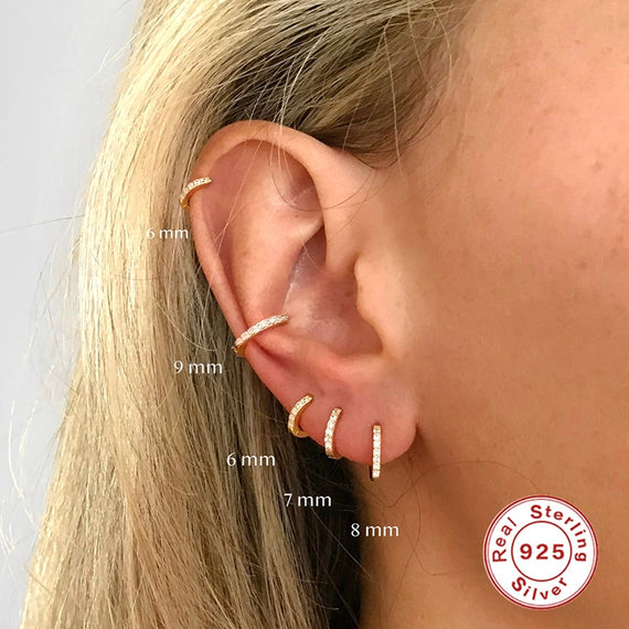 Roxi 925 Sterling Silver Earrings Small Hoop Earrings Ear Bone Tiny Ear Nose Ring