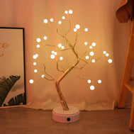108 LED USB 3D Table-Lamp Copper Wire Christmas Fire Tree Night Light Fairy Light