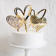 Happy Birthday Love Flag Cake Topper Acrylic Letter Gold Silver Decorations