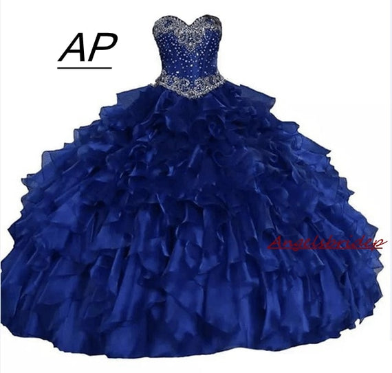 Sweetheart Ball Gown Quinceanera Dresses Glittering Crystals Beadings Ruffles with  Lace Up
