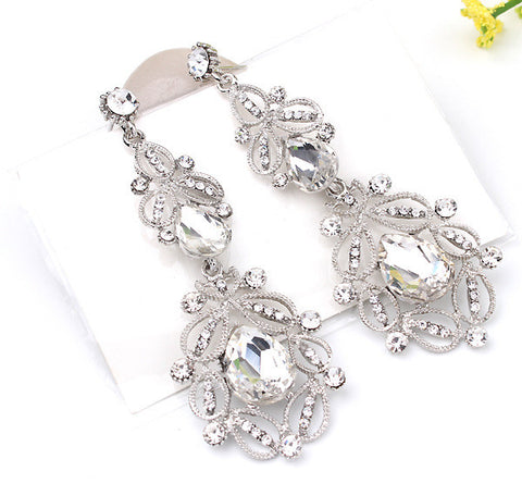 Fashion Big long Blue crystal drop earrings for women vintage flower silver plated bride Earrings wedding Jewelry accessories - Make Me Elegant