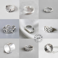 Vintage Silver Color Metal Punk Letter Open Rings for women men