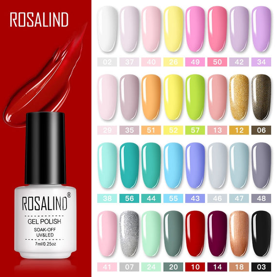 ROSALIND Gel Nail Polish Set Semi Permanent Vernis top coat UV LED Gel Varnish Soak Off Nail