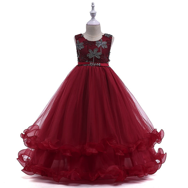 Kids Teen Embroidery Flowers Princess Party Dress