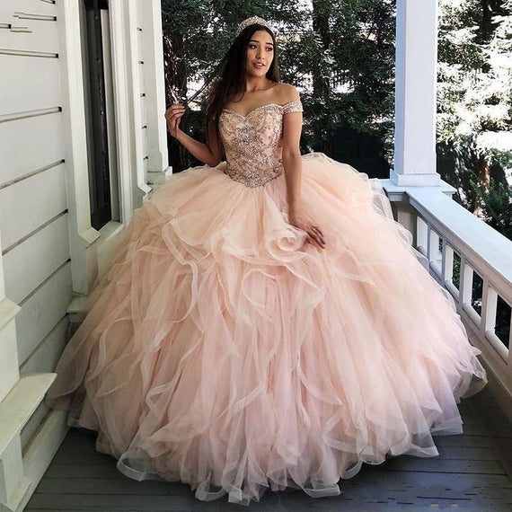 Organza Ball Gown Quinceanera Dresses  Off Shoulder Sparkly Crystals Party Dress