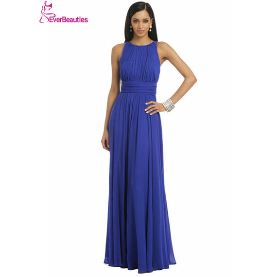 Royal Blue Emerald Green Chiffon Dress Bridesmaid Dresses 2017 Prom Long Dress - Make Me Elegant