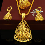 Jewelry Set Pendant /Necklace/Earring/Ring Jewelry 24K Gold Color - Make Me Elegant