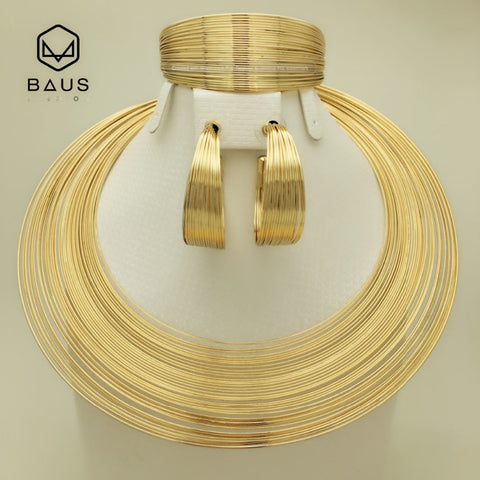 Dubai indian arabic gold jewelry Set  Gold color