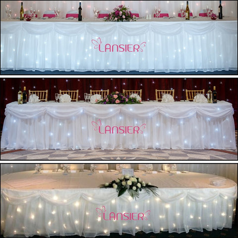 Table skirt white led star cloth lights with swag wedding table skirting and light controller