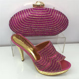 Gold Shoes and Bag Set Decorated with Rhinestone - Make Me Elegant