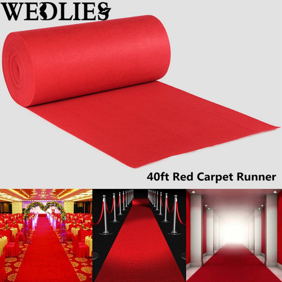 Red Carpet Aisle Floor Runner 40feet long by 3ft wide - Make Me Elegant