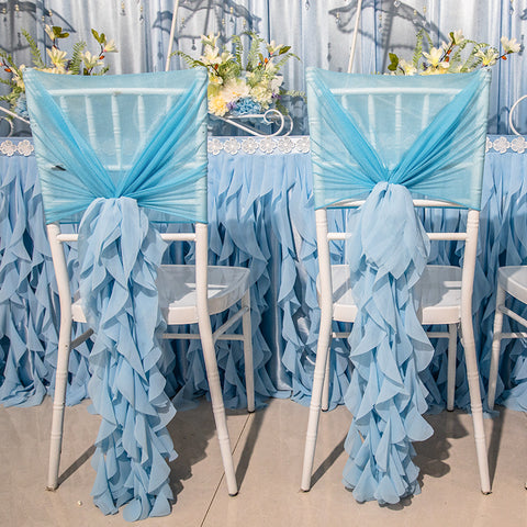 10 pieces Chiffon Bamboo Chair Sash Wedding Decoration Chair Cover Accessories