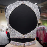 Long Heavy Beaded Crystals Backless Puffy Champagne Two Piece Party Prom Dress