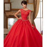 Organza Lace Beaded Appliques Ball Gown Coral  Quinceanera - Make Me Elegant