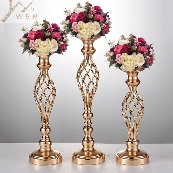 Creative hollow gold/ silver metal candle holder wedding table centerpiece