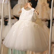 First Communion  Pageant  Flower Girl White Tulle Lace Baby Girl Dresses - Make Me Elegant