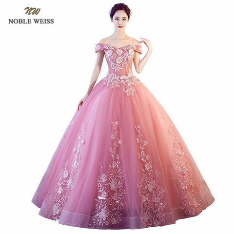Pink Quinceanera Dresses Appliques Tulle Ball Gown Floor Length Prom Dress