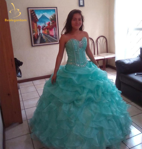 Quinceanera Dresses Ball Gown  Beading Sleeveless Tiered Floor Length