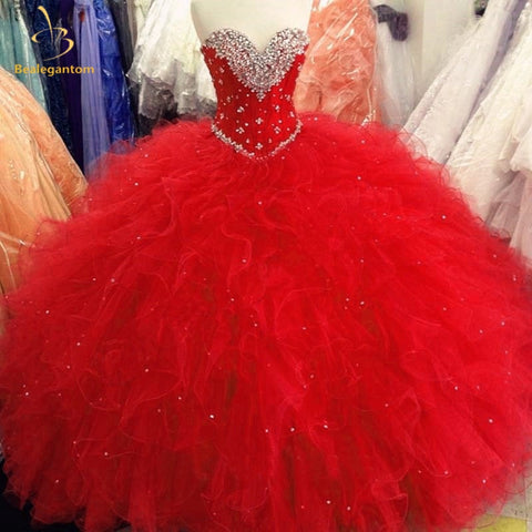 Red Ball Gown Quinceanera Dresses Beaded Crystals Ruffles Sweet 16 Dresses