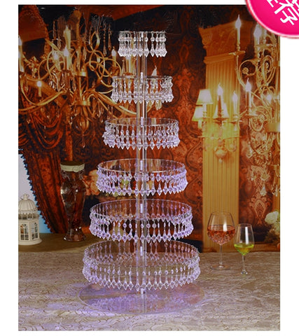 Beautiful 7 tiers Party Crystal transparent acrylic Cake Stand decoration
