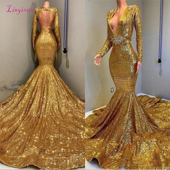 Mermaid Backless Prom Dresses V-neck Long Sleeves Sequined Bling Bling Bead Floor Length