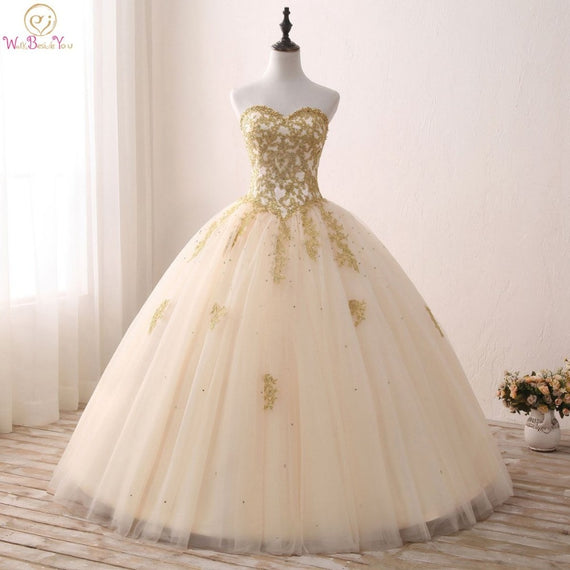 Gold Quinceanera Strapless Dresses Lace Appliques Beaded Ball Gown