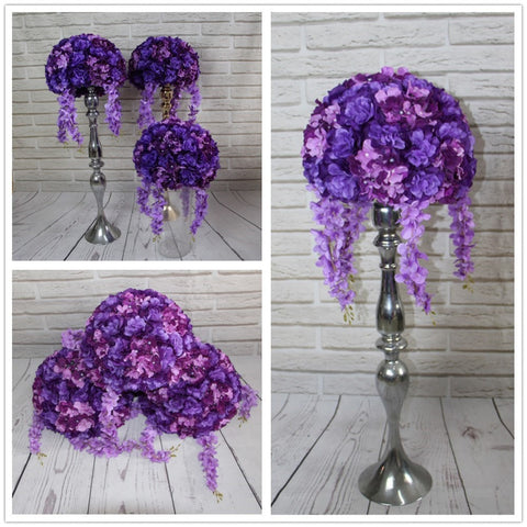 Artificial flowers balls purple road lead flower hydrangea and Dahlia Rose Centerpieces 10 in a set
