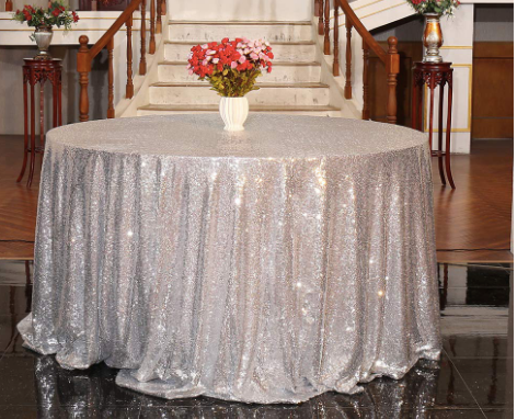 "Silver Sequin Table Linen Size 120"" for Rent"