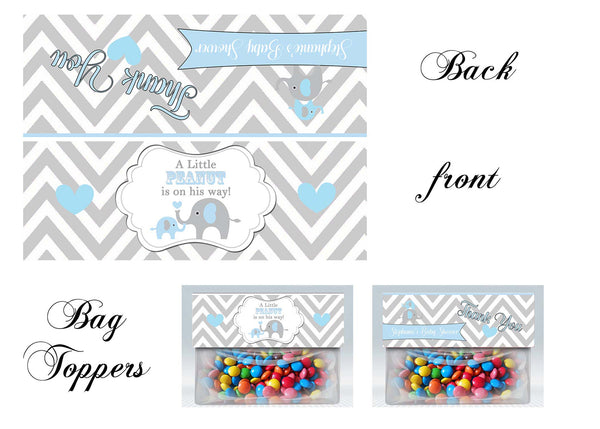 Elephant Baby Shower Bag toppers, Gift tags