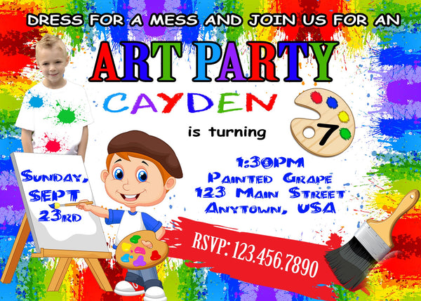 Art Party Birthday Invitation, Painting
