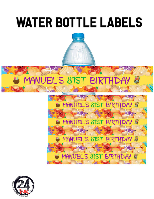 Luau Birthday Water Bottle Labels