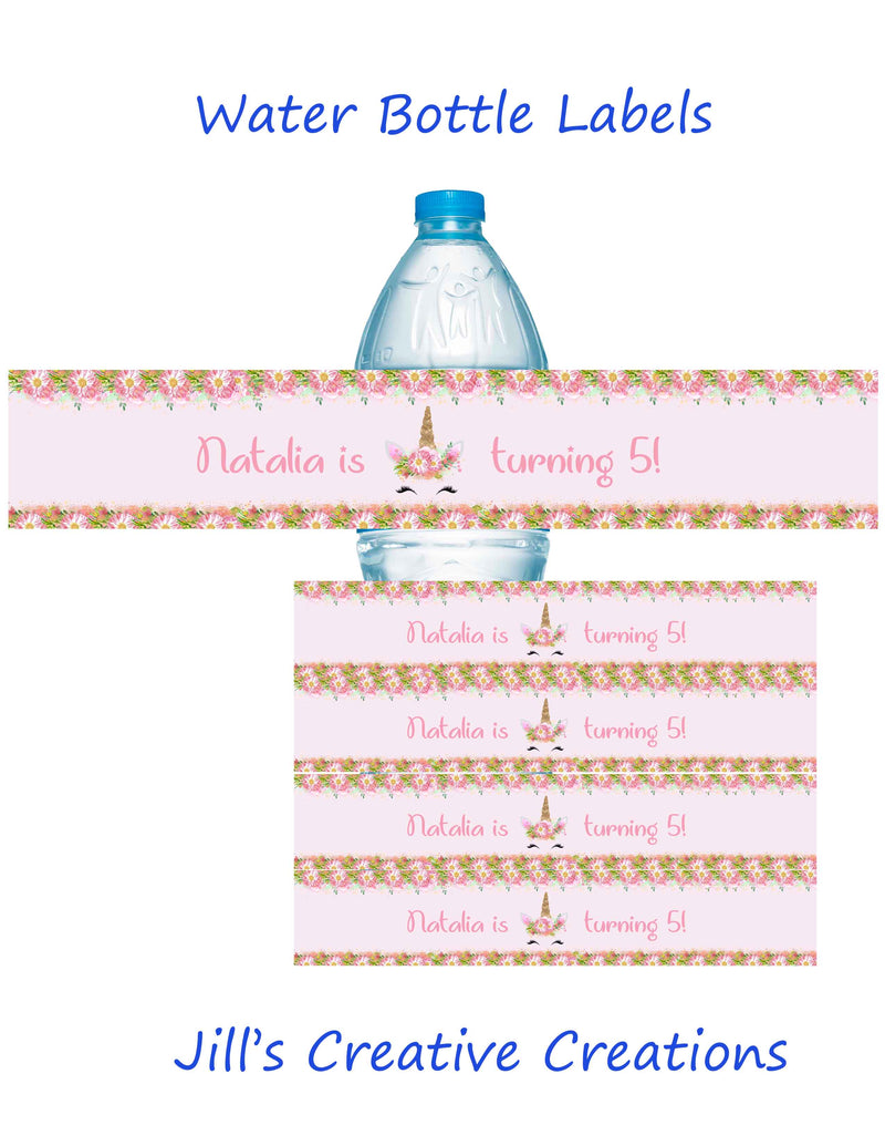 Unicorn Pink Floral Water Bottle labels