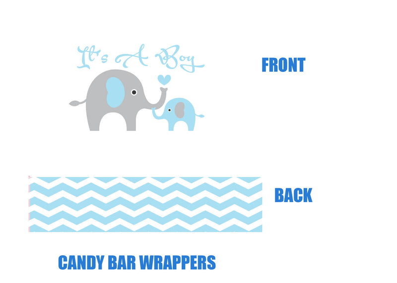 Elephant Baby Shower Candy Bar Wrappers