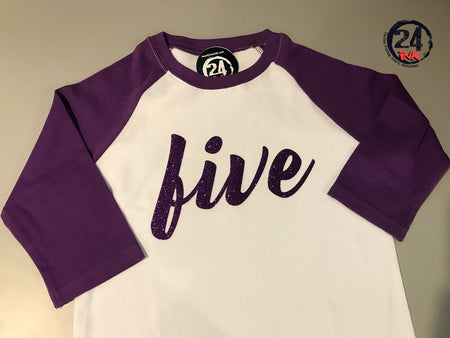 Number Birthday Shirt with Purple sleeves