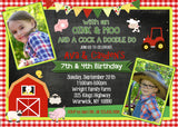 Farm Friends Duel Birthday Invitation