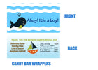 Whales and Sails Baby Shower Candy Bar Wrappers