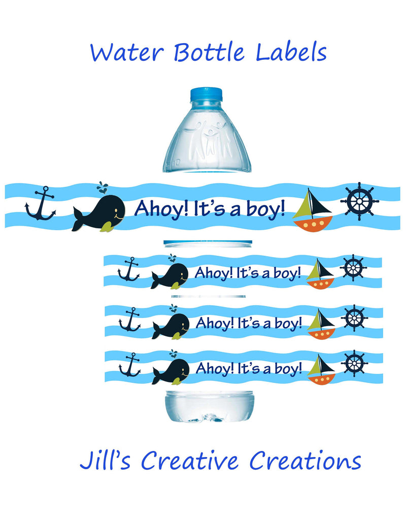 Whales and sails Baby shower water bottle labels