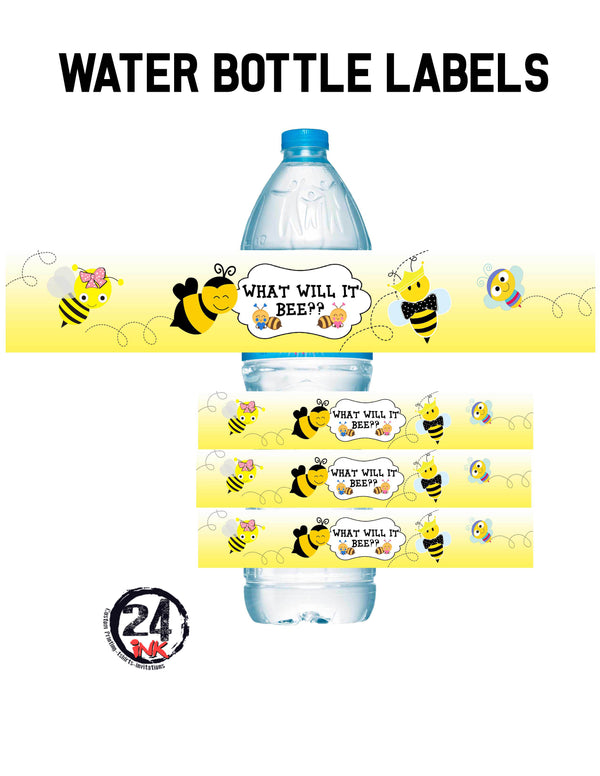 Bee gender reveal water bottle labels