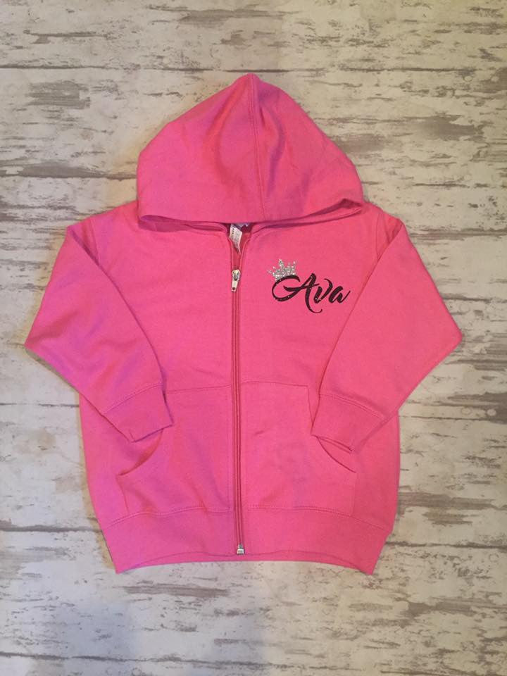Princess Personalized Hooded Zip Up Sweatshirts