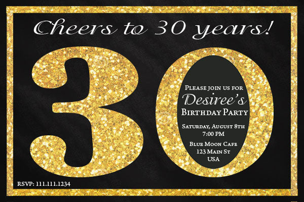 Black and Gold 30th Birthday Invitation