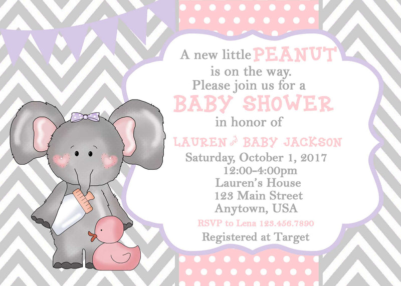 Elephant Baby Shower Invitation Pink Elephant 24 Ink