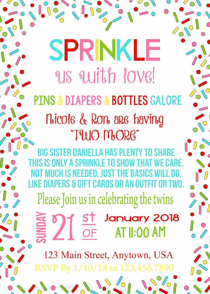 Baby Sprinkle Invitation, Baby shower