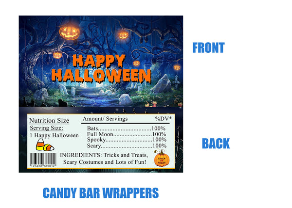 Halloween Candy Bar Wrappers, pumpkins