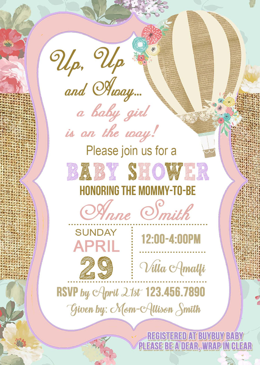 Hot air balloon baby shower invitation jills creative creations hot air balloon baby shower invitation filmwisefo Image collections