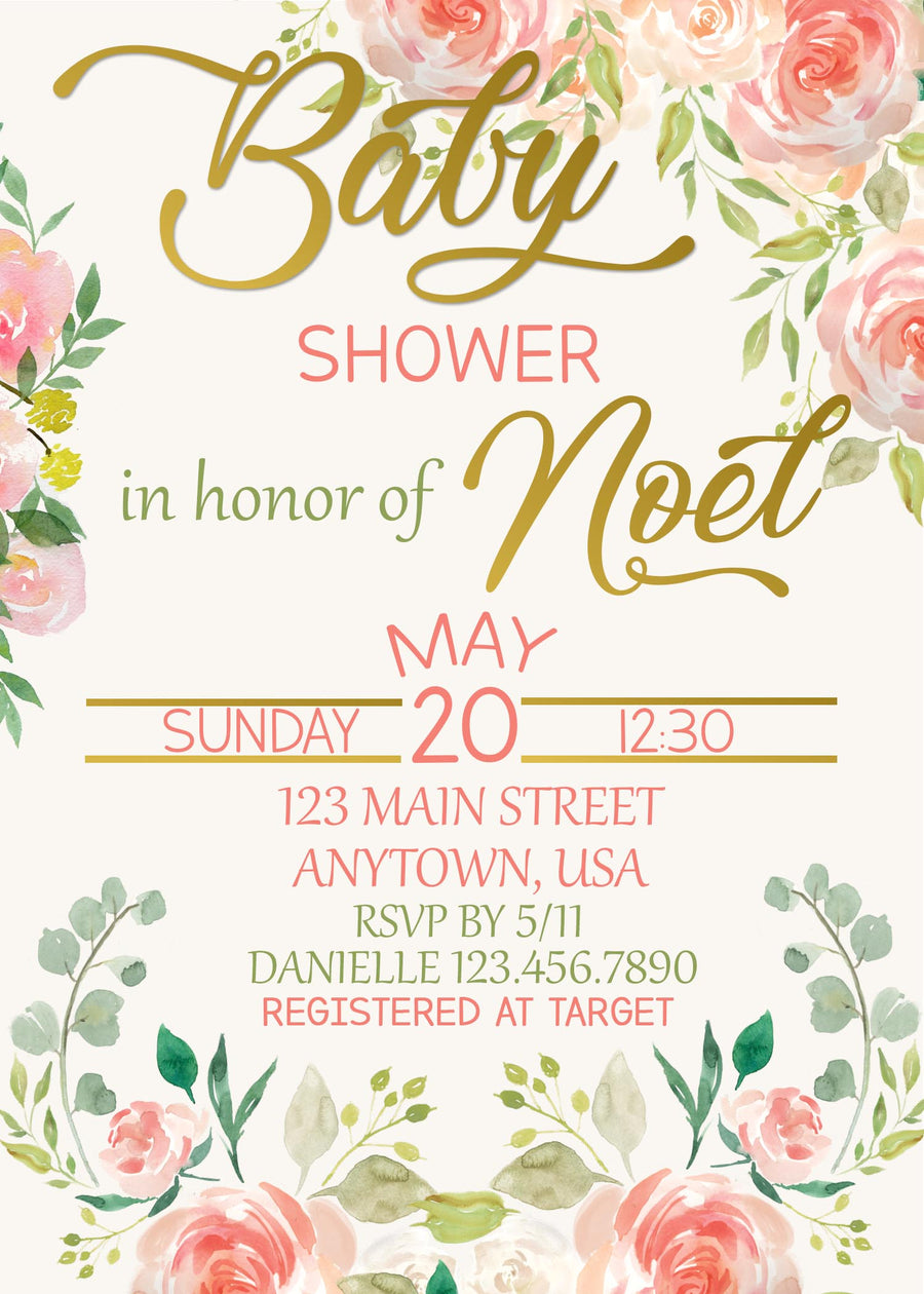Roses Baby Shower Invitation, Rose