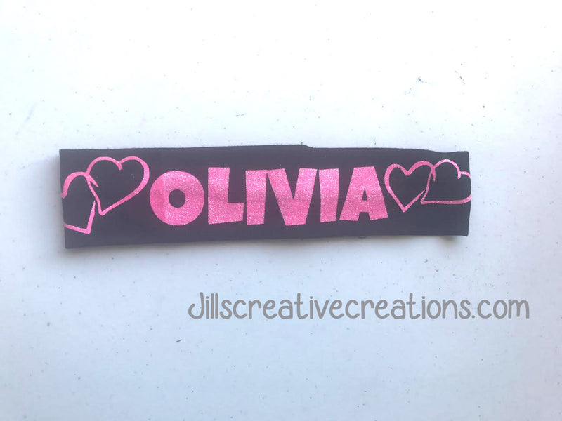 Glitter Personalized Headband With Hearts
